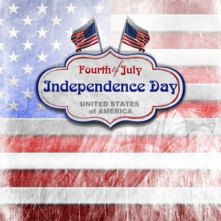 Vintage background with US flags, label and phrase  Fourth of July Independence Day - United States of America