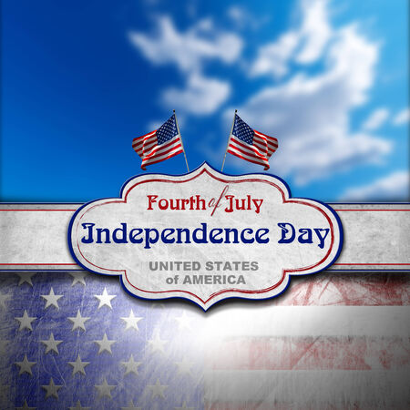 Vintage background with US flags, blurred blue sky, label and phrase  Fourth of July Independence Day - United States of America photo