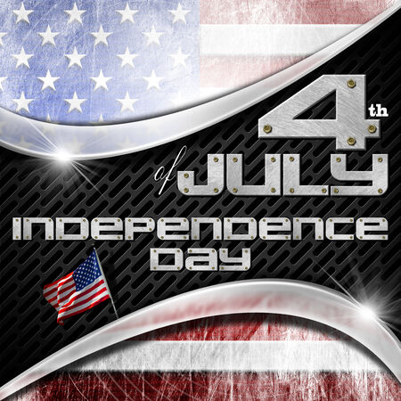 US flag on black background with metallic grid and phrase 4th of July - Independence Day  photo