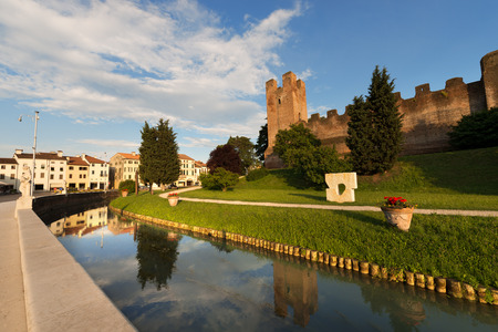 Ancient walls of Castelfranco Veneto, north side  XII-XIII century  in the province of Treviso, north Italy Stock Photo
