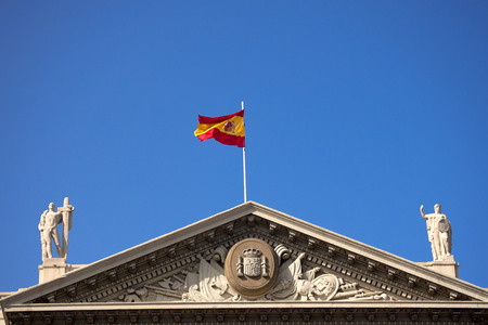 Detail of the top part of the building of the military government  Gobierno Militar  in Barcelona, Spain  Its construction began in 1928 to house the offices of the Ministry of War