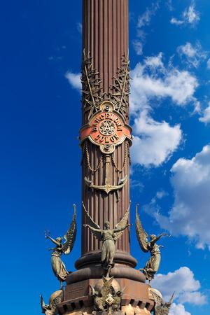 Detail of the column of Barcelona  1888  - Spain, monument dedicated to the famous Italian navigator and explorer Cristorofo Colombo  1451-1506