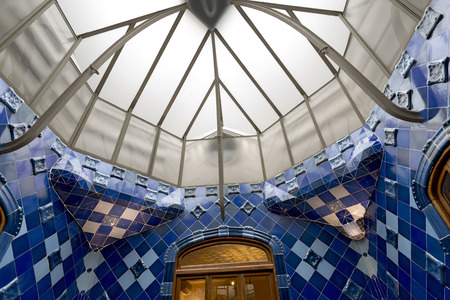 remodelled: BARCELONA, SPAIN - JUN 12, 2014  Details from Casa Batllo, restored by Antoni Gaudi and Josep Maria Jujol, built in the year 1877 and remodelled in the years 1904 1906  June 12, 2014 Barcelona Spain