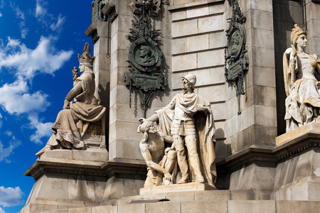colonizer: Detail of the stone pedestal of the column of Barcelona  1888  - Spain, monument dedicated to the famous Italian navigator and explorer Cristorofo Colombo  1451-1506