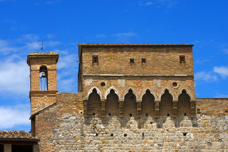 Detail of ancient Porta San Giovanni  1262 , south entrance of the city of San Gimignano, Siena, Tuscany, Italy