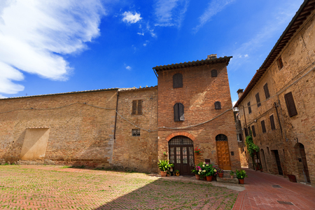 Typical buildings in San Gimignano medieval town  UNESCO world heritage site , Siena, Tuscany, Italy photo