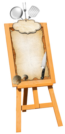 Billboard on a wooden easel with empty parchment and label, kitchen utensils and sea shells  Perfect for a fish menu photo