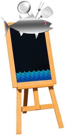 Blank black chalkboard on a wooden easel with kitchen utensils, metal fish and stylized waves  Perfect for a fish menu photo