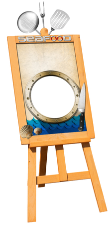 trivet: Billboard on a wooden easel with empty parchment, metal porthole, kitchen utensils, seashells and stylized waves  Perfect for a fish menu Stock Photo