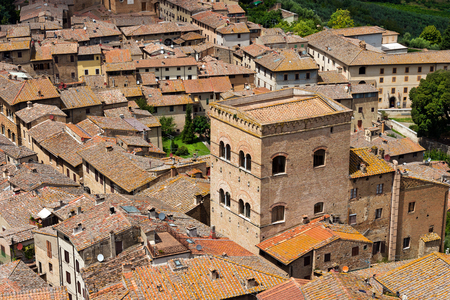Aerial view of San Gimignano, medieval town   , from the tower of the Palazzo Comunale, Siena, Tuscany, Italy photo