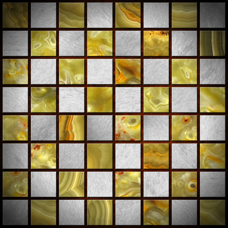 onyx: Empty chessboard with squares of gray metal and green, yellow and orange onyx