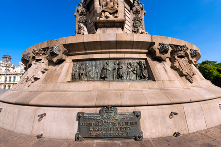 colonizer: Detail of the stone pedestal of the column of Barcelona  1888  - Spain, monument dedicated to the famous Italian navigator and explorer Cristoforo Colombo  1451-1506