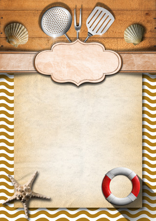 Brown wooden background with stylized waves, kitchen utensils and empty label, seashells, starfish and lifebuoy  Template for recipes or a sea menu photo