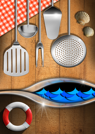 Wooden and metallic background with stylized waves, tablecloth, kitchen utensils, seashells and lifebuoy  Template for sea menu photo