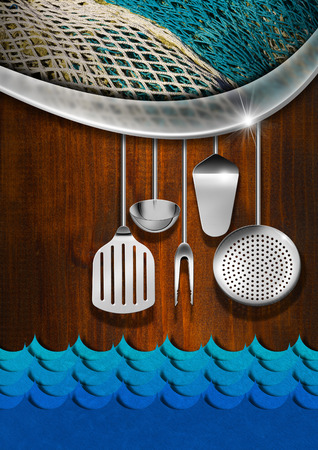 Wooden and metallic background with kitchen utensils, fishing net and stylized blue waves photo