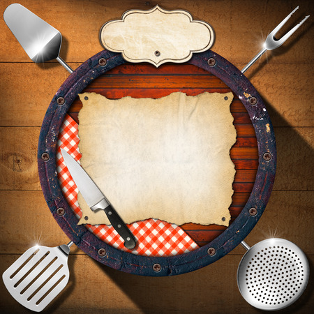 Wooden background (Bottom of a barrel) with kitchen utensils, table cloth, empty parchment and label. Background for a rustic menu photo