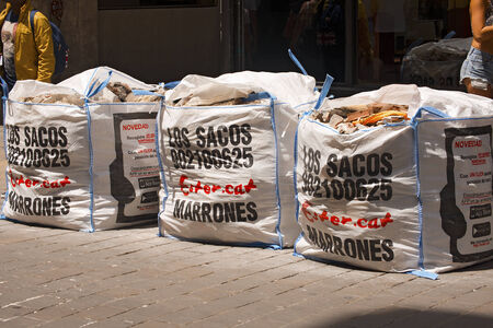 BARCELONA, SPAIN - JUNE 13, 2014: Los Sacos Marrones, paid service to remove construction waste in the center of the city in Barcelona, Catalonia, Spain