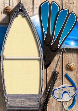 speargun: Small wooden row boat with empty yellow paper inside on wooden wall with equipment for spearfishing, seashells and blue waves