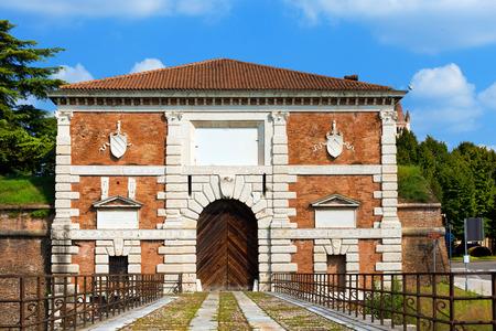 san michele: Porta San Zeno (St. Zeno Gate), monumental gate (1542) of the architect Michele Sanmicheli in Verona, Veneto, Italy