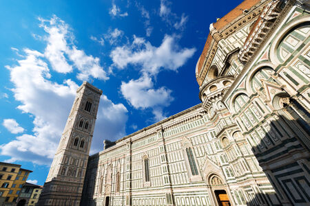 Cathedral of Santa Maria del Fiore (1296-1436) and Bell Tower Giotto (84,70 m.) in Florence (UNESCO world heritage site). Tuscany, Italy