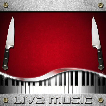 cuisine entertainment: Red velvet background with two kitchen knives, piano keyboard and text Live Music on metal background