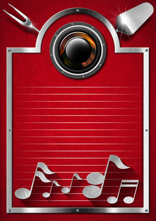 Metallic and red velvet background with kitchen utensils, musical notes and woofer photo