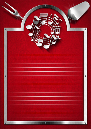 Metallic and red velvet background with kitchen utensils and white musical notes photo