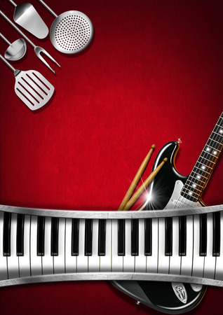 Red velvet background with kitchen utensils, electric guitar, piano keyboard and drum sticks photo