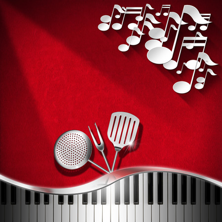 Red velvet background with kitchen utensils, white musical notes and piano keyboard photo