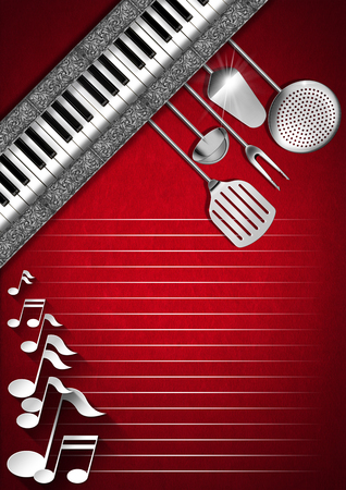 Red velvet background with kitchen utensils, diagonal silver bands, musical notes and piano keyboard photo