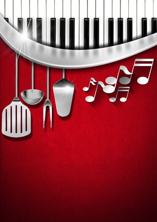 Red velvet background with kitchen utensils, musical notes and piano keyboard photo