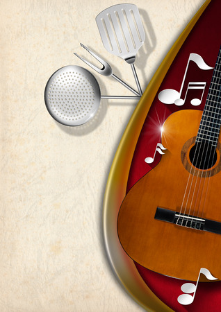 Background with red velvet, yellow and white stained paper, acoustic guitar, musical notes and kitchen utensils photo