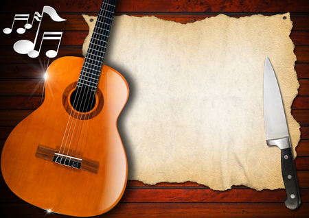 Acoustic guitar on wooden wall with empty parchment, musical notes and kitchen knife photo