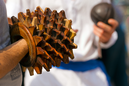 pointed arm: Pallone col Bracciale (Ball with the Bracelet) - XVI century, the most popular sport athletic team in Italy until 1921. Treia, Macerata, Marche, Italy