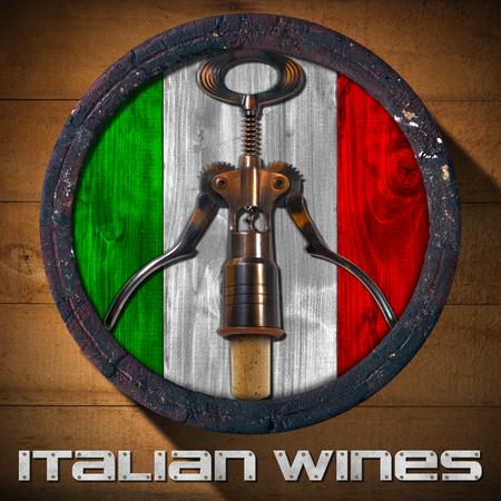 italien flagge: Alte Holzfass mit italienischer Flagge innen und Korkenzieher mit Korken auf hölzernen Hintergrund und Metall Text: Italienische Weine