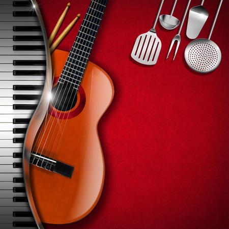 台所用品、アコースティック ギター、ピアノ、キーボード、ドラムと赤いベルベットの背景の棒します。フード メニューや音楽イベントのテンプレ 写真素材
