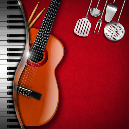 Red velvet background with kitchen utensils, acoustic guitar, piano keyboard and drum sticks. Template for food menu and a musical event Stock Photo