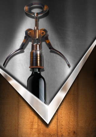 Metallic and wooden background with old brown and black corkscrew and black wine bottle. Template for wine list or menu photo