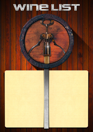 wooden background with yellow empty paper old wooden barrel stock