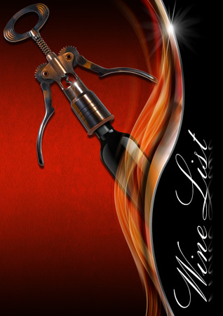 Red and orange velvet background with metal wave and text Wine List, old corkscrew and black bottle. Template for wine list or menu  photo