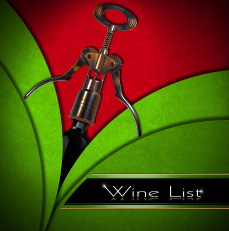 Red and green velvet background with old brown and black corkscrew, text  - Wine List. Template for wine list or menu  photo