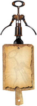 Notebook for a wine list or menu on used wooden cutting board with black corkscrew and black bottle isolated on white background photo