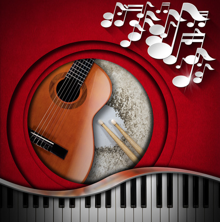 Red velvet background with white musical notes, acoustic guitar, piano keyboard and snare drum with drumsticks. Concept of music performance photo