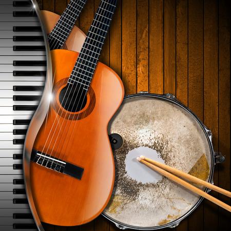 teclado de piano: Dos guitarras ac�sticas, teclado de piano y met�lico antiguo tambor de la trampa sobre un fondo de madera r�stica. Concepto de la interpretaci�n musical