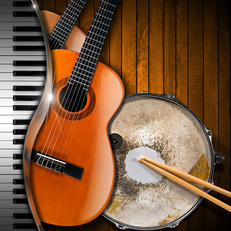 piano background: Two acoustic guitars, piano keyboard and metallic old snare drum against a rustic wood background. Concept of music performance Stock Photo