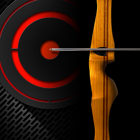 Detail of a sports wooden bow and arrow on black background with black and red target