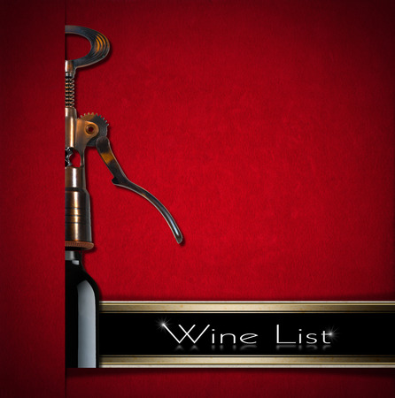 Red velvet background with old brown and black corkscrew, text - Wine List on a black band. Template for menu or wine list