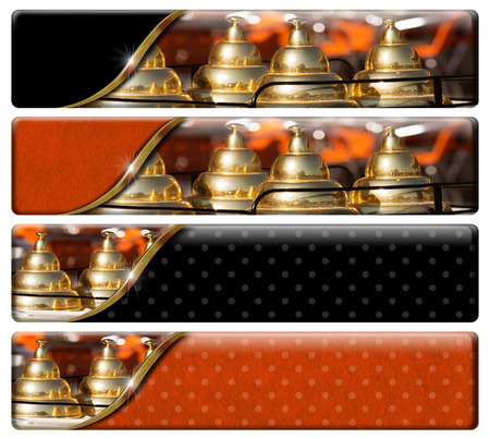 Set of four horizontal banners with detail of an ice cream cart with a space for text photo