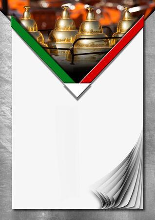 carretto gelati: Priorit� bassa del metallo con pagine bianche vuote con riccioli, bandiera italiana e dettaglio di un carretto dei gelati. Modello per un menu di gelato