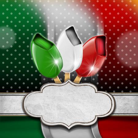 bandiera italiana: Sfondo con bandiera italiana, tre gelati con il bastone ed etichetta vuota. Modello per un menu di gelato italiano